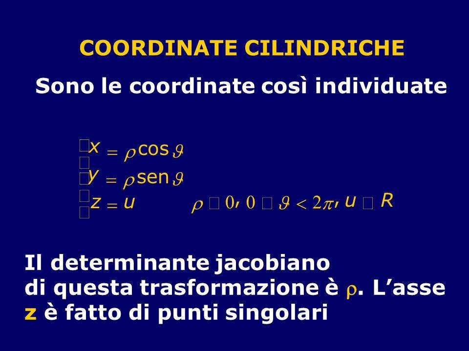 COORDINATE CILINDRICHE Sono le coordinate così individuate x cos y sen z u 0, 0 2, u R Il determinante jacobiano di questa trasformazione è. Lasse z è