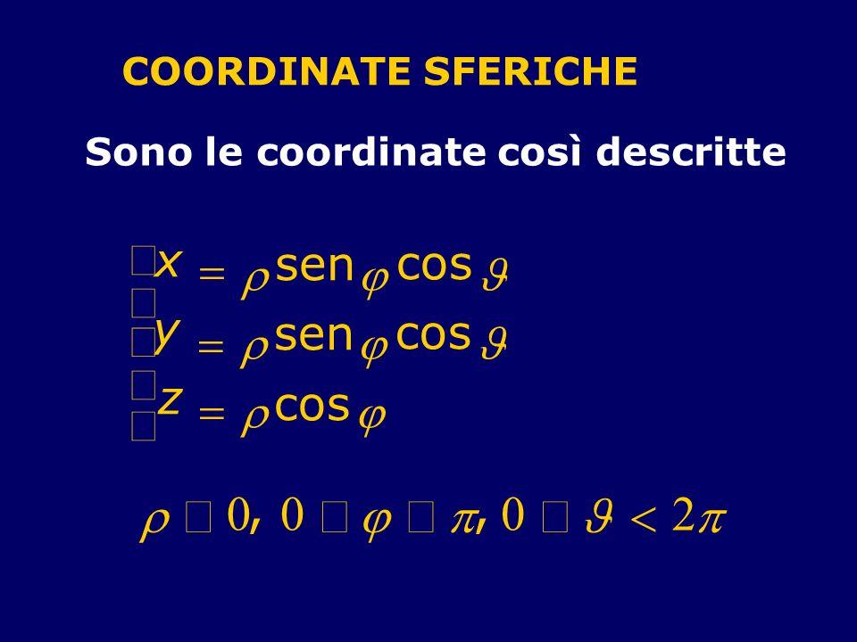 COORDINATE SFERICHE Sono le coordinate così descritte x sen cos y sen cos z cos,, 00 0 2