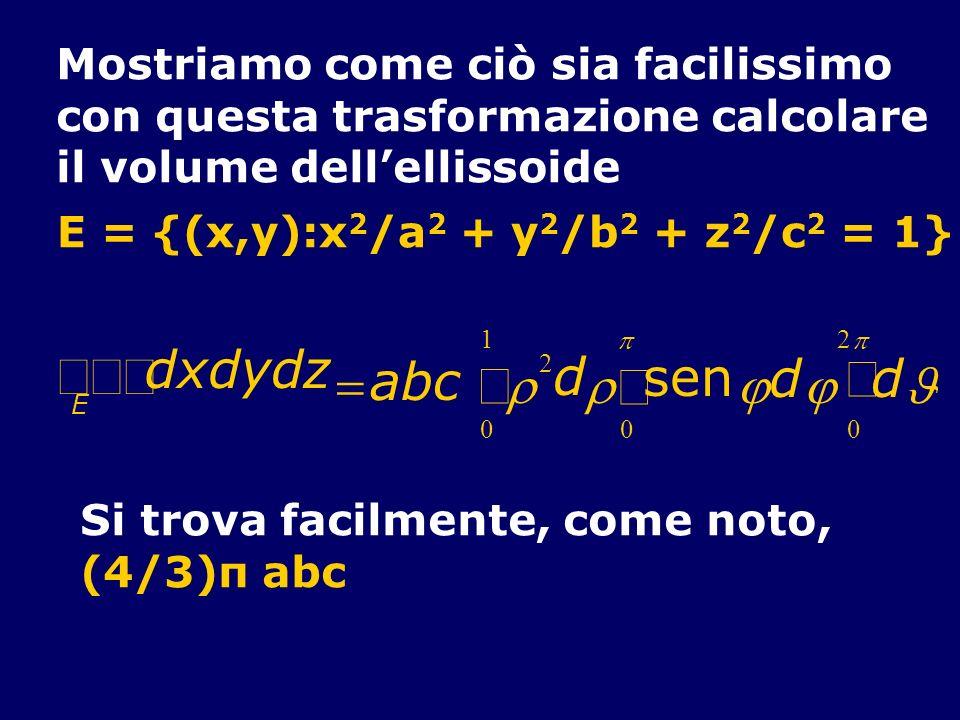 Mostriamo come ciò sia facilissimo con questa trasformazione calcolare il volume dellellissoide E = {(x,y):x 2 /a 2 + y 2 /b 2 + z 2 /c 2 = 1} Si trov