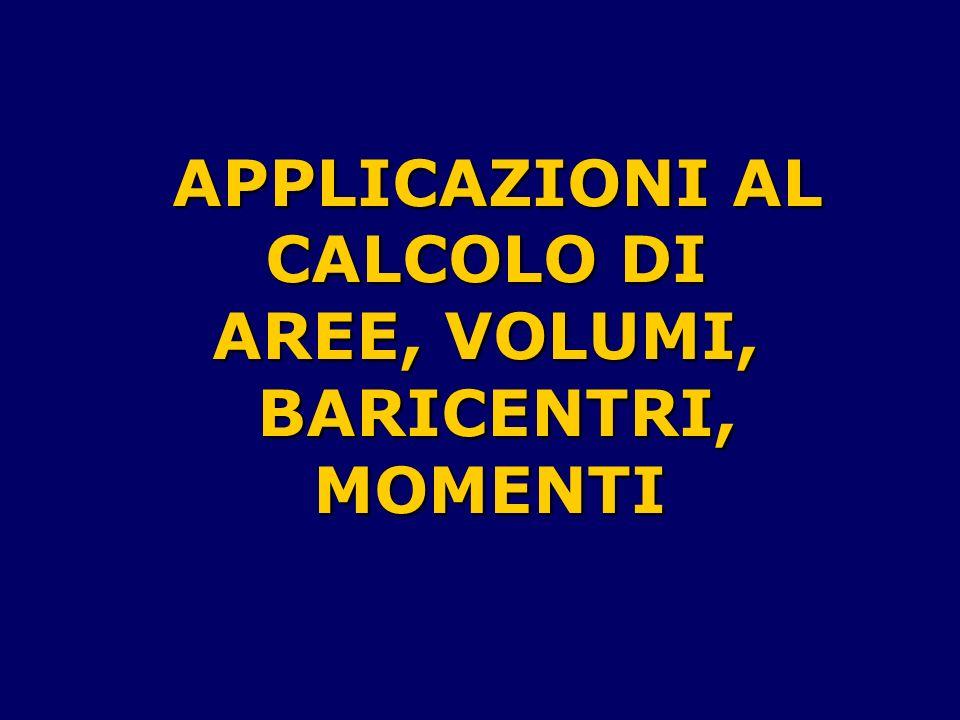 APPLICAZIONI AL CALCOLO DI AREE, VOLUMI, BARICENTRI,MOMENTI