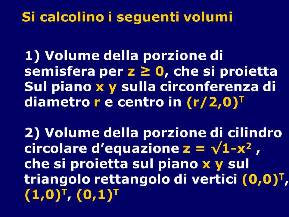 Si calcolino i seguenti volumi 1) Volume della porzione di semisfera per z 0, che si proietta Sul piano x y sulla circonferenza di diametro r e centro