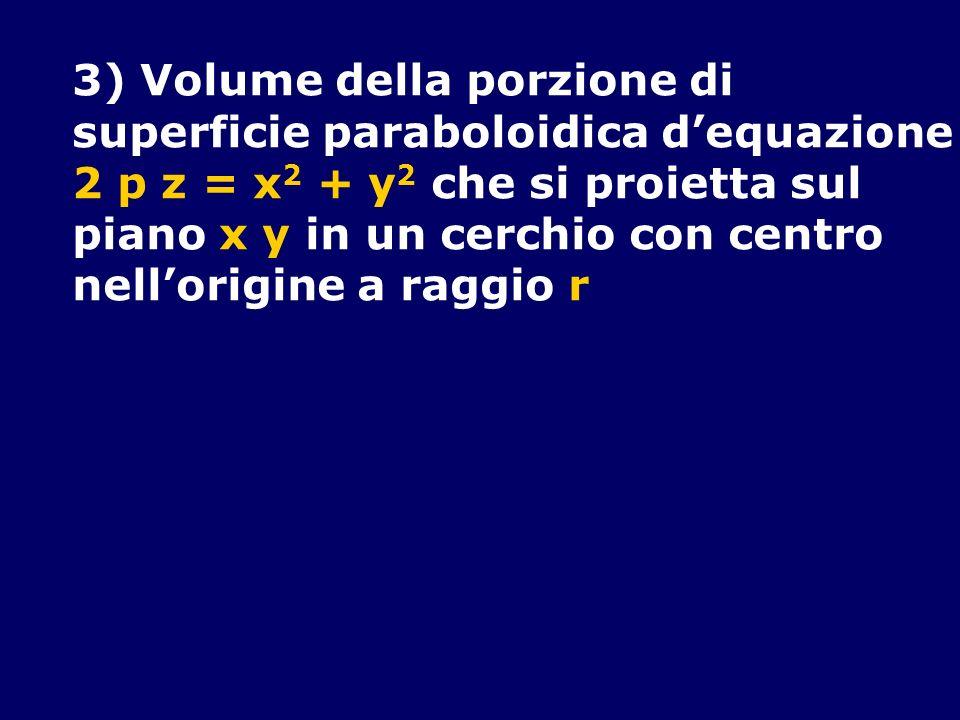 3) Volume della porzione di superficie paraboloidica dequazione 2 p z = x 2 + y 2 che si proietta sul piano x y in un cerchio con centro nellorigine a
