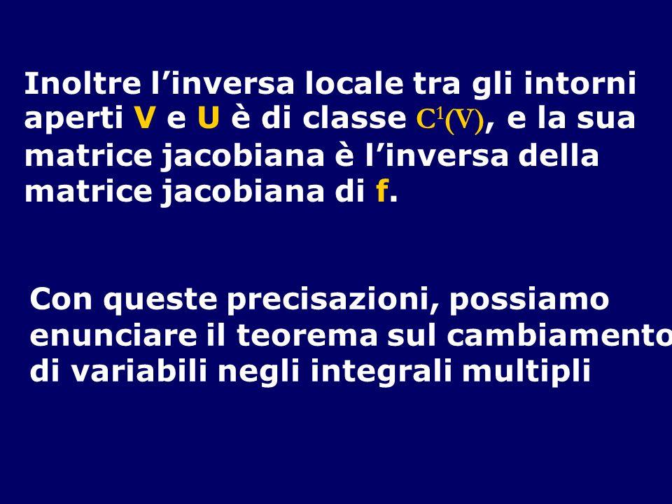 Inoltre linversa locale tra gli intorni aperti V e U è di classe C 1 (V), e la sua matrice jacobiana è linversa della matrice jacobiana di f. Con ques