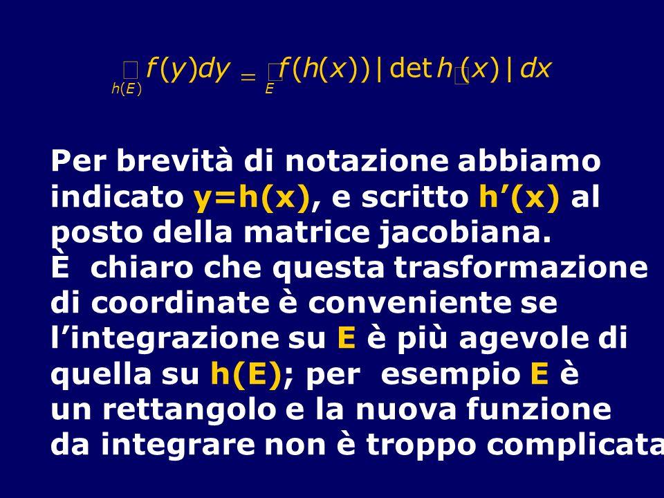 f(y)dy f(h(x)) det h(x) E h(E)  dx Per brevità di notazione abbiamo indicato y=h(x), e scritto h(x) al posto della matrice jacobiana. È chiaro che que