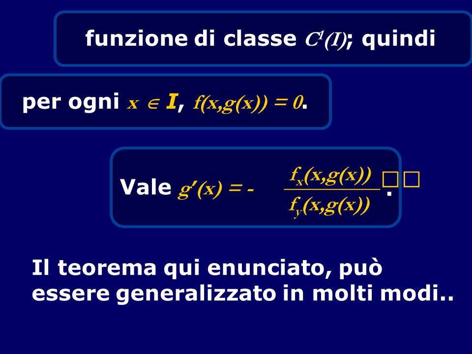 funzione di classe C 1 (I) ; quindi per ogni x I, f(x,g(x)) = 0. Vale g (x) = - f x (x,g(x)) _________ f y (x,g(x)). Il teorema qui enunciato, può ess