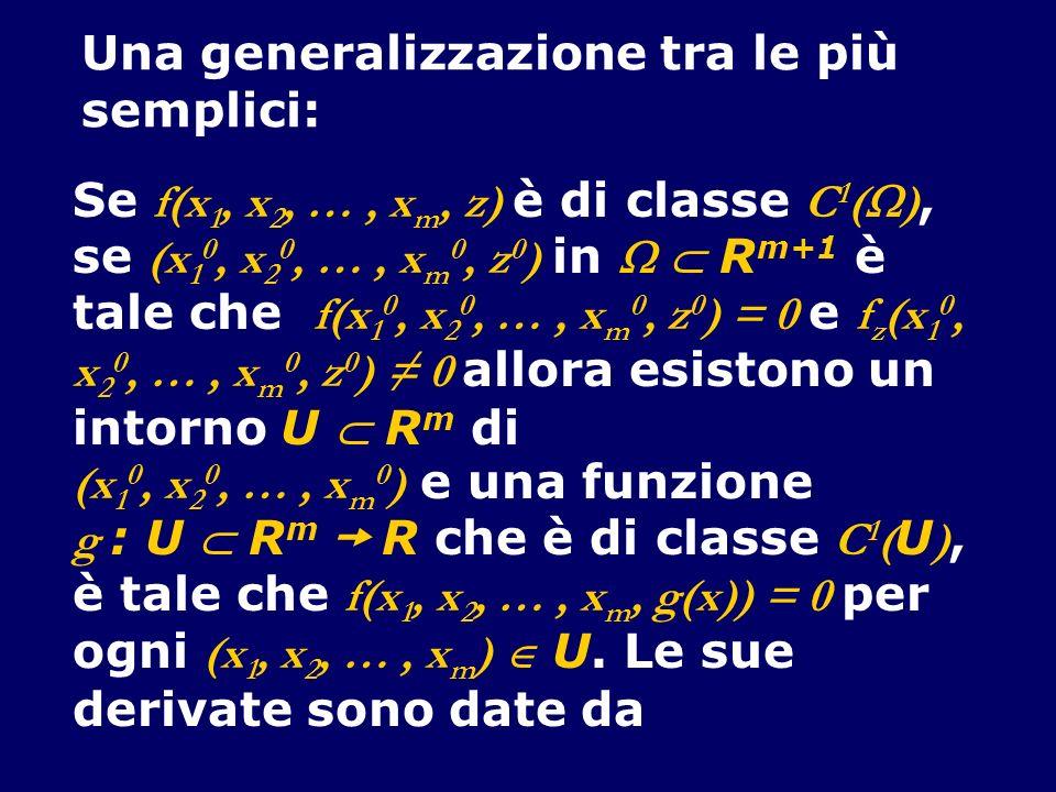 Una generalizzazione tra le più semplici: Se f(x 1, x 2, …, x m, z) è di classe C 1 ( ), se (x 1 0, x 2 0, …, x m 0, z 0 ) in R m+1 è tale che f(x 1 0