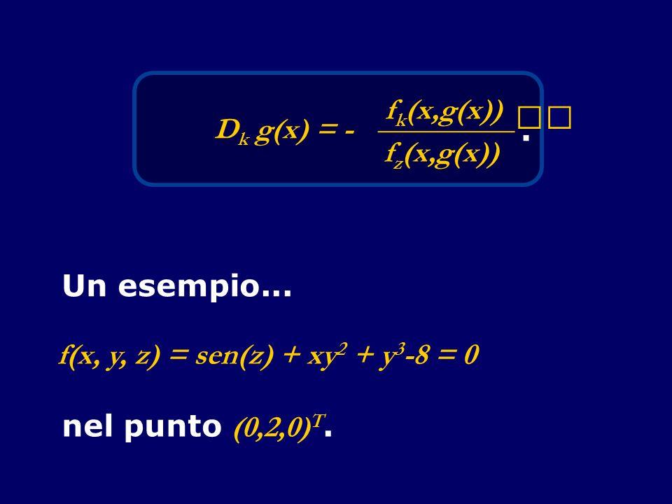 D k g(x) = - f k (x,g(x)) _________ f z (x,g(x)). Un esempio... f(x, y, z) = sen(z) + xy 2 + y 3 -8 = 0 nel punto (0,2,0) T.