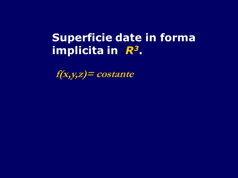 Superficie date in forma implicita in R 3. f(x,y,z)= costante