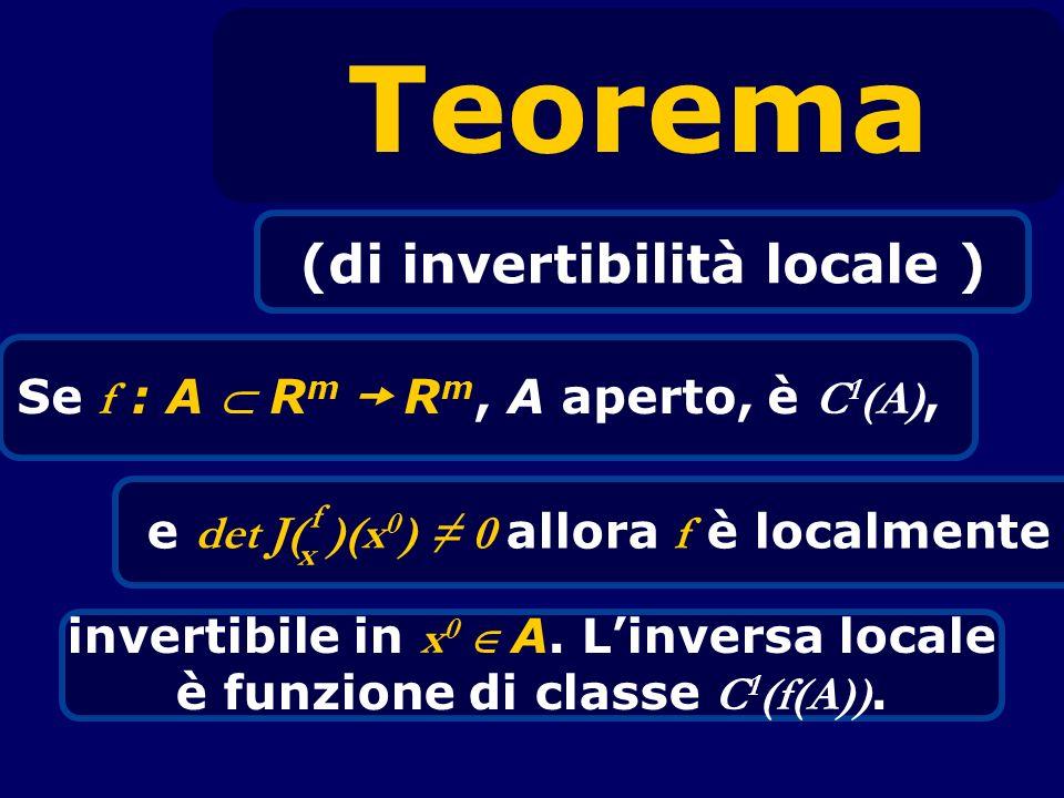 Teorema (di invertibilità locale ) Se f : A R m R m, A aperto, è C 1 (A), invertibile in x 0 A. Linversa locale è funzione di classe C 1 (f(A)). e det