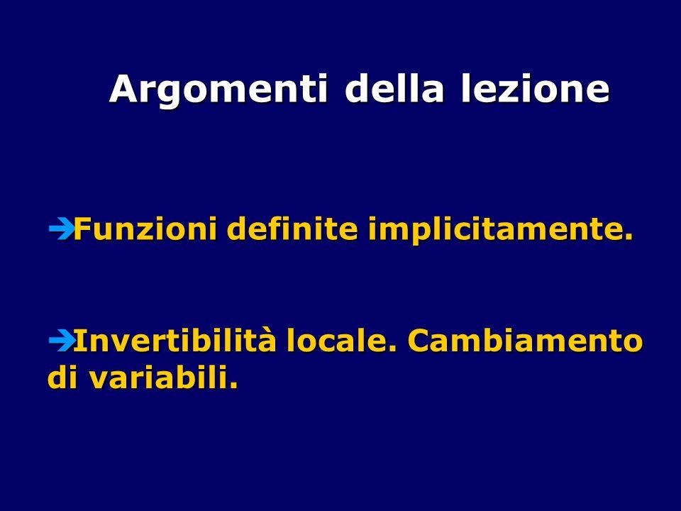 Funzioni definite implicitamente. Funzioni definite implicitamente. Argomenti della lezione Invertibilità locale. Cambiamento di variabili. Invertibil