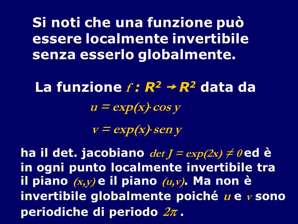 Si noti che una funzione può essere localmente invertibile senza esserlo globalmente. La funzione f : R 2 R 2 data da u = exp(x) cos y v = exp(x) sen