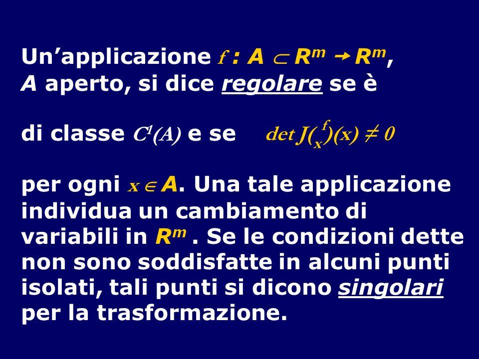 Unapplicazione f : A R m R m, A aperto, si dice regolare se è di classe C 1 (A) e se per ogni x A. Una tale applicazione individua un cambiamento di v