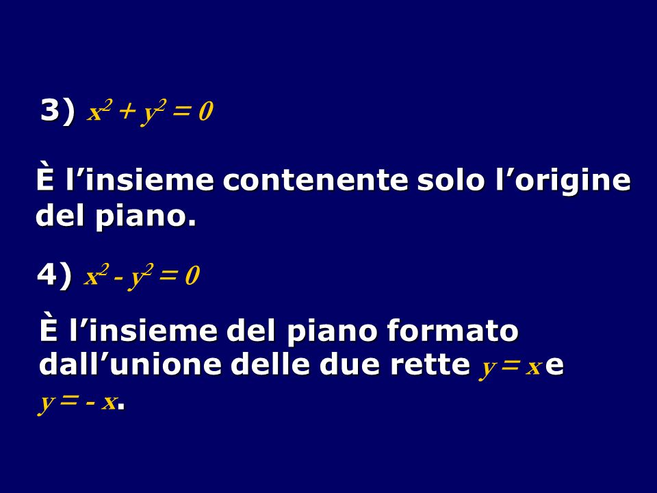 3) 3) x 2 + y 2 = 0 È linsieme contenente solo lorigine del piano. 4) 4) x 2 - y 2 = 0 È linsieme del piano formato dallunione delle due rette e dallu