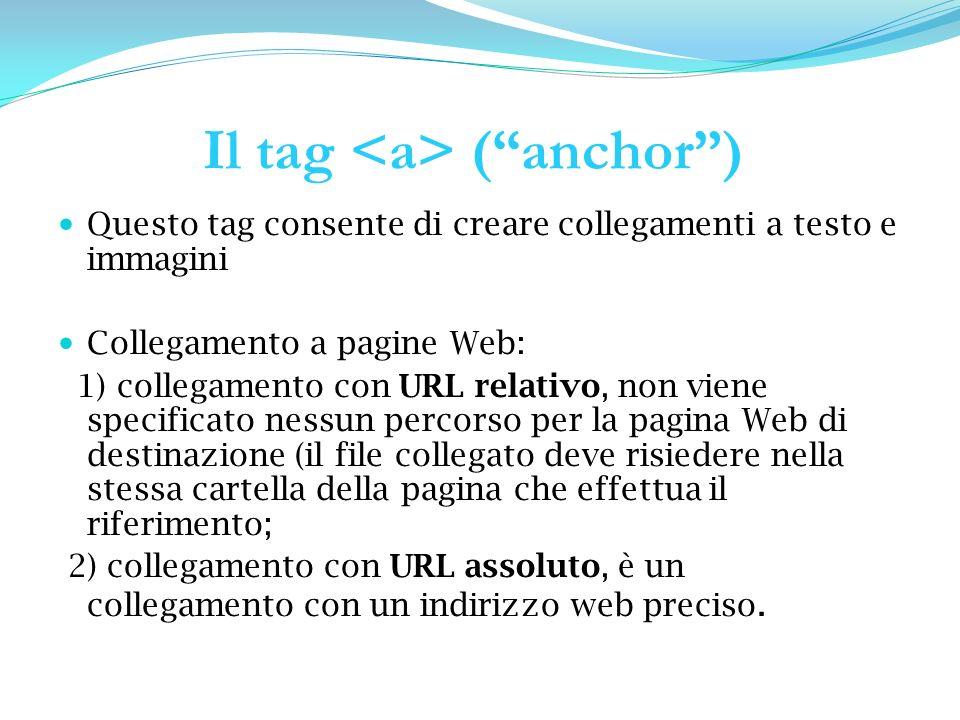 Il tag (anchor) Questo tag consente di creare collegamenti a testo e immagini Collegamento a pagine Web: 1) collegamento con URL relativo, non viene specificato nessun percorso per la pagina Web di destinazione (il file collegato deve risiedere nella stessa cartella della pagina che effettua il riferimento; 2) collegamento con URL assoluto, è un collegamento con un indirizzo web preciso.