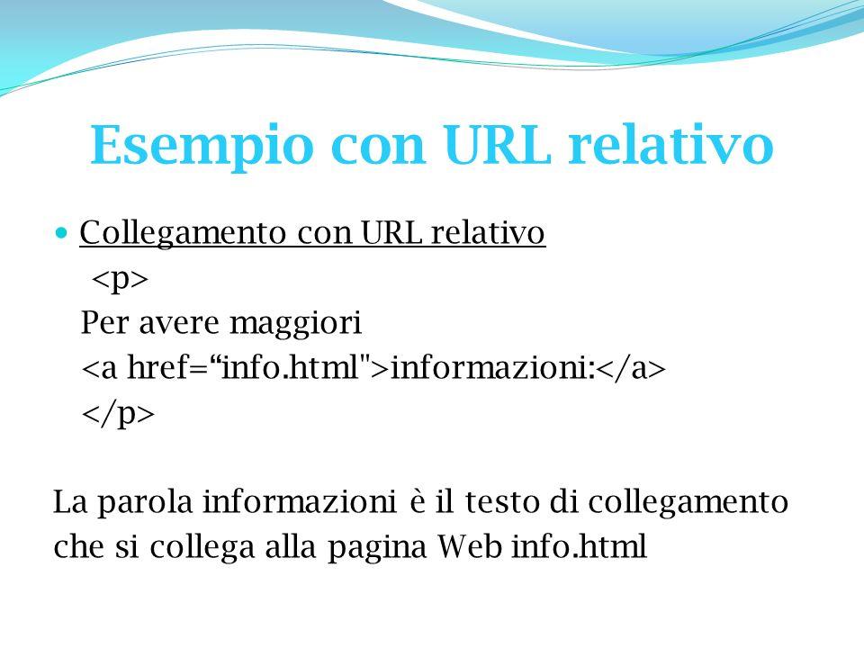 Esempio con URL relativo Collegamento con URL relativo Per avere maggiori informazioni: La parola informazioni è il testo di collegamento che si collega alla pagina Web info.html