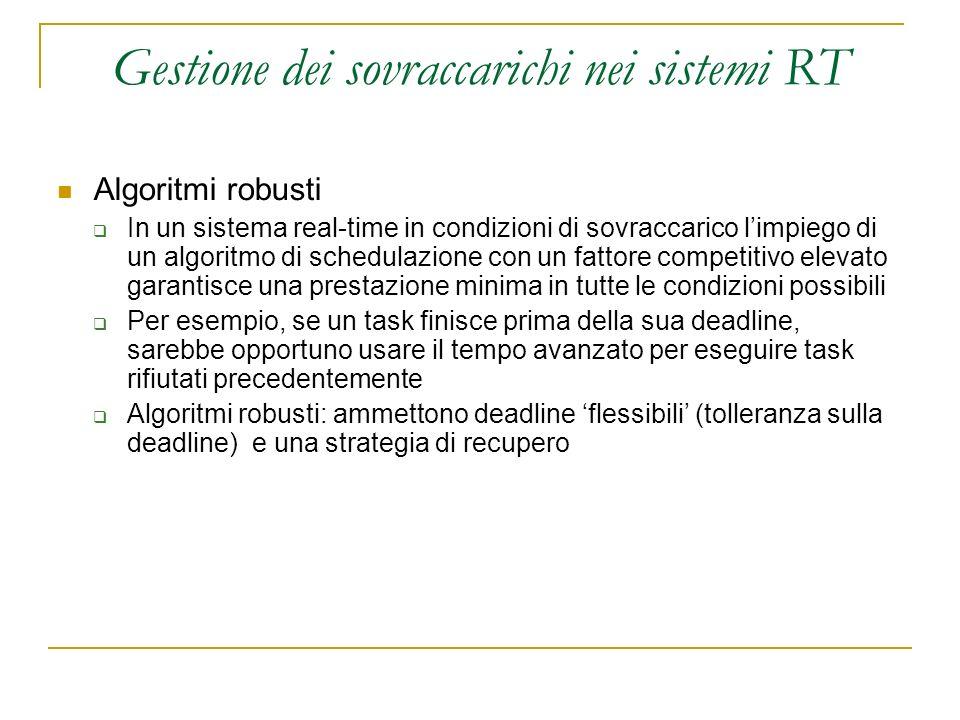 Gestione dei sovraccarichi nei sistemi RT Algoritmi robusti In un sistema real-time in condizioni di sovraccarico limpiego di un algoritmo di schedula