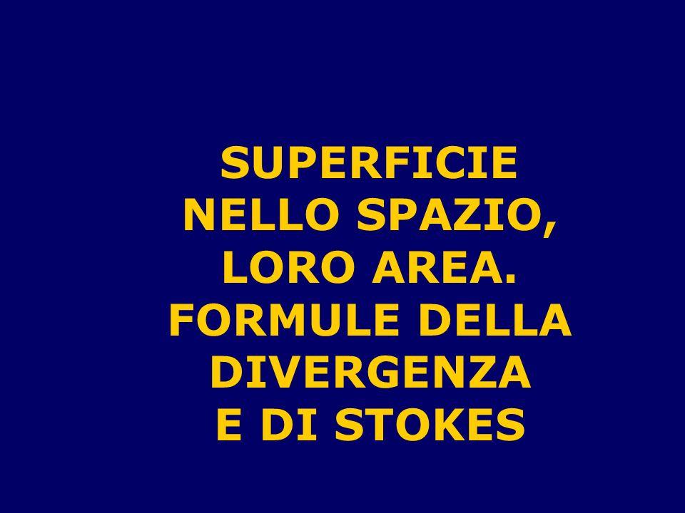SUPERFICIE NELLO SPAZIO, LORO AREA. FORMULE DELLA DIVERGENZA E DI STOKES