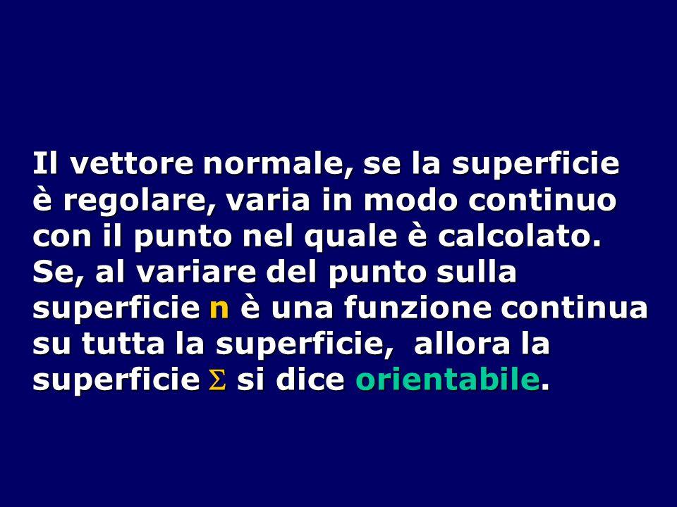Il vettore normale, se la superficie è regolare, varia in modo continuo con il punto nel quale è calcolato. Se, al variare del punto sulla superficie