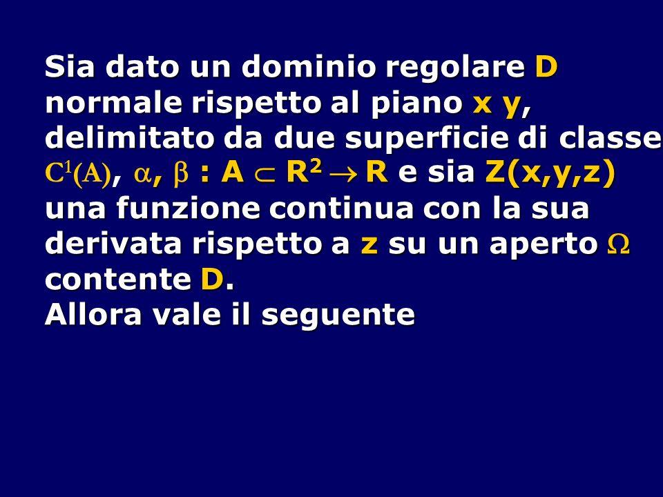 Sia dato un dominio regolare D normale rispetto al piano x y, delimitato da due superficie di classe, : A R 2 R e sia Z(x,y,z) C 1 (A),, : A R 2 R e s