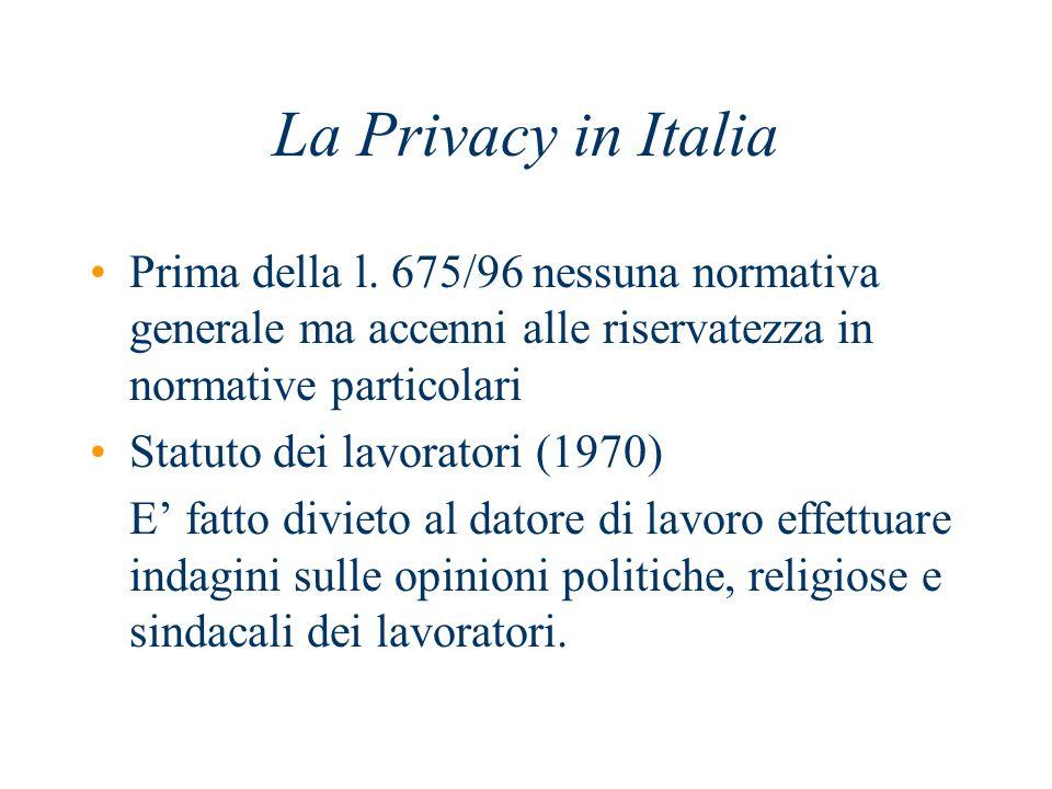 La Privacy in Italia Prima della l. 675/96 nessuna normativa generale ma accenni alle riservatezza in normative particolari Statuto dei lavoratori (19