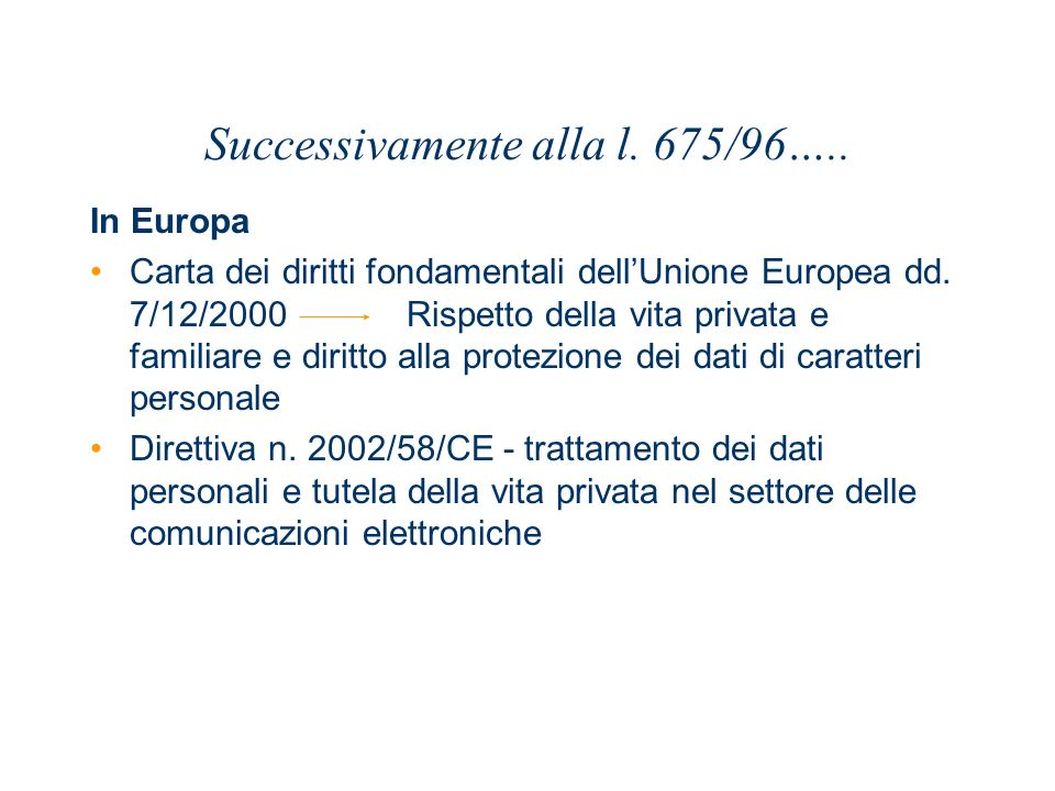 Successivamente alla l. 675/96….. In Europa Carta dei diritti fondamentali dellUnione Europea dd. 7/12/2000 Rispetto della vita privata e familiare e