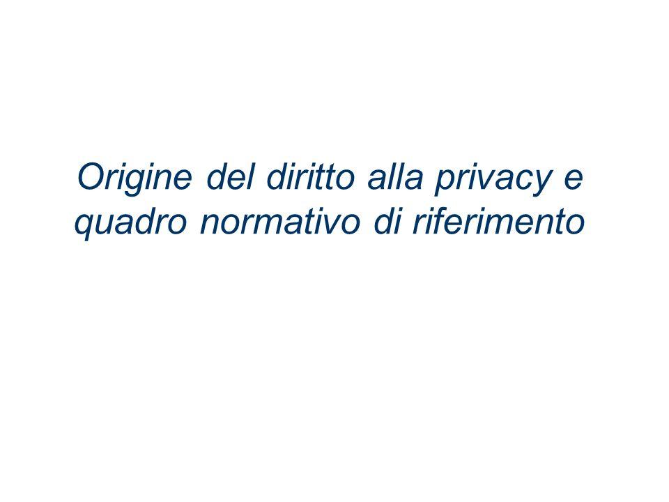 Origine del diritto alla privacy e quadro normativo di riferimento