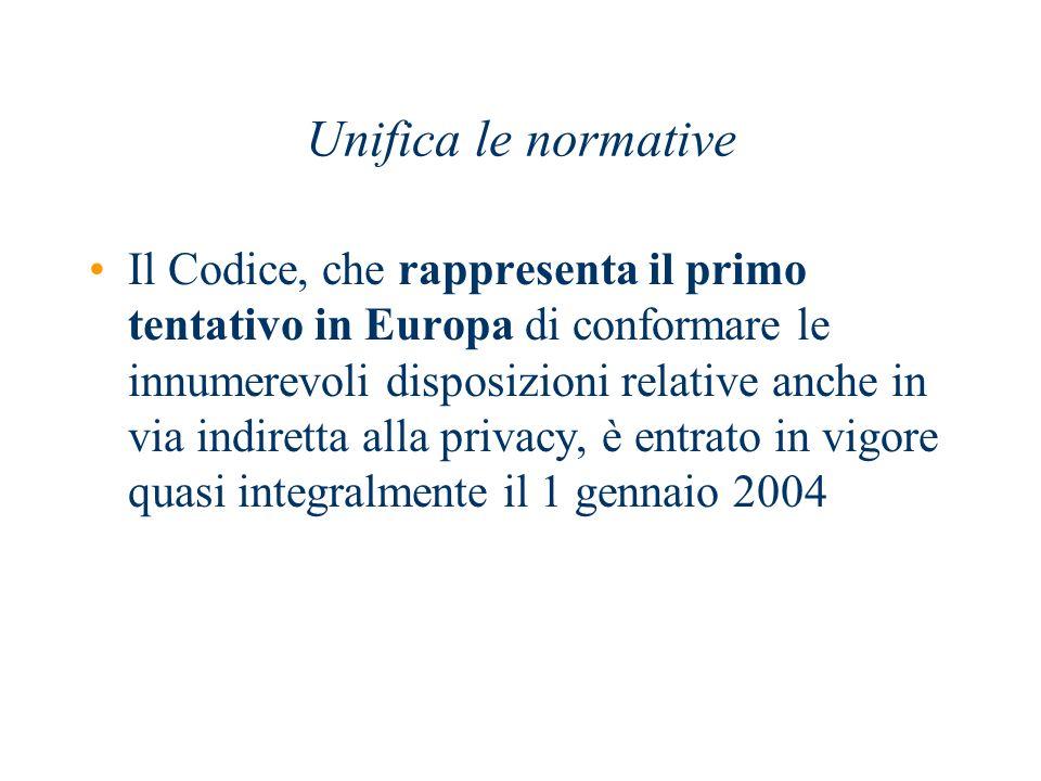 Unifica le normative Il Codice, che rappresenta il primo tentativo in Europa di conformare le innumerevoli disposizioni relative anche in via indirett