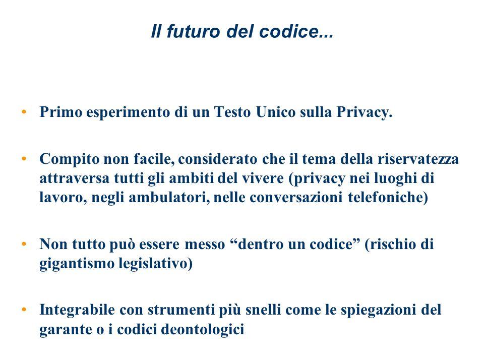 Il futuro del codice... Primo esperimento di un Testo Unico sulla Privacy. Compito non facile, considerato che il tema della riservatezza attraversa t