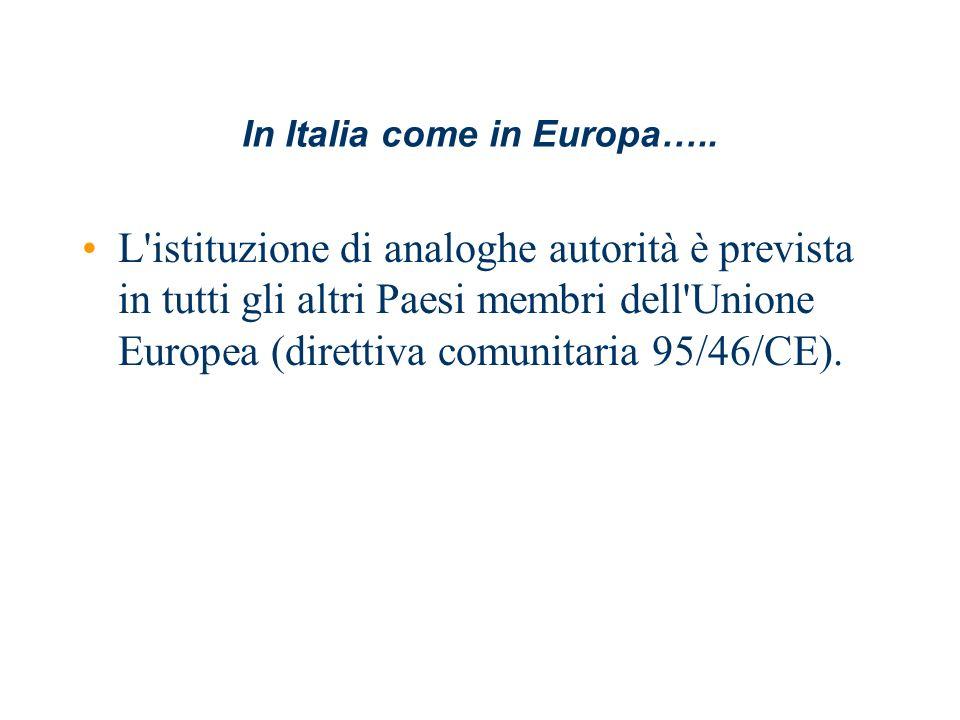 In Italia come in Europa….. L'istituzione di analoghe autorità è prevista in tutti gli altri Paesi membri dell'Unione Europea (direttiva comunitaria 9
