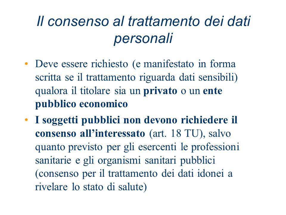 Il consenso al trattamento dei dati personali Deve essere richiesto (e manifestato in forma scritta se il trattamento riguarda dati sensibili) qualora