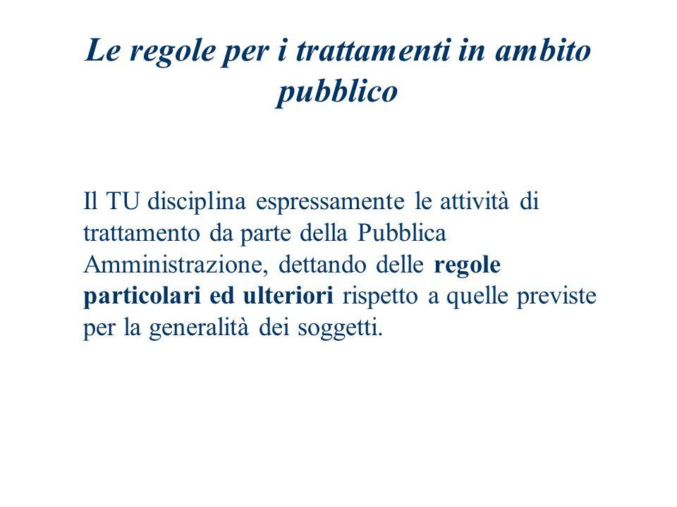 Le regole per i trattamenti in ambito pubblico Il TU disciplina espressamente le attività di trattamento da parte della Pubblica Amministrazione, dett