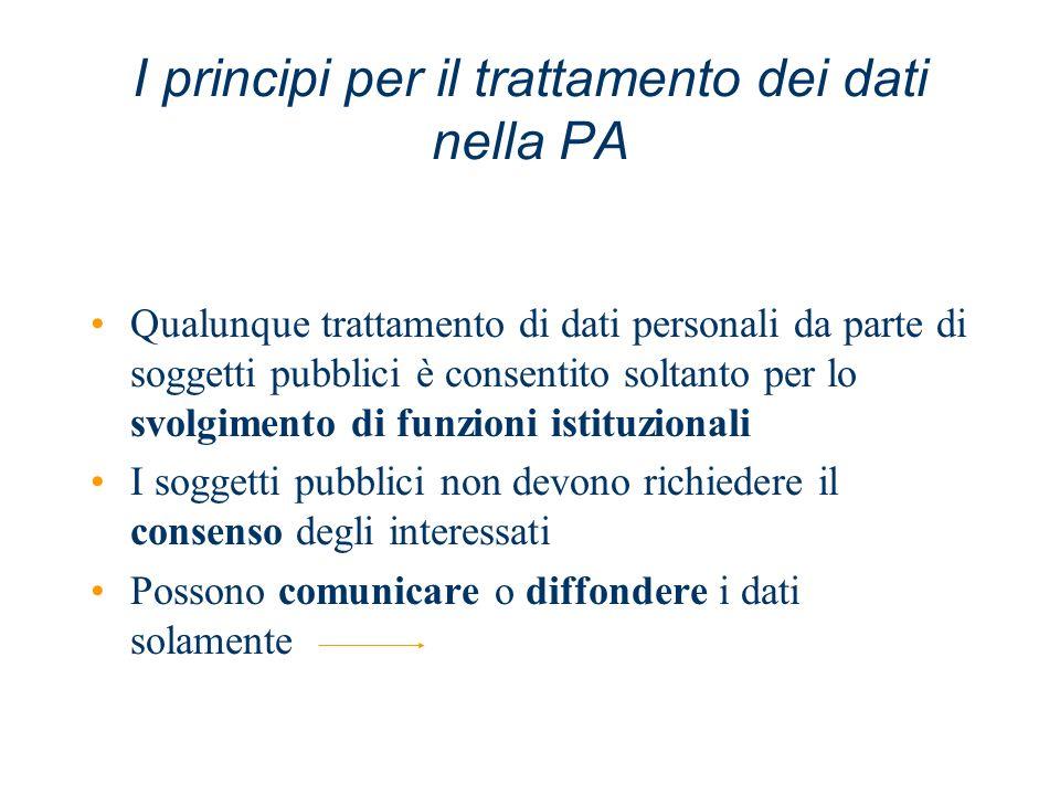 I principi per il trattamento dei dati nella PA Qualunque trattamento di dati personali da parte di soggetti pubblici è consentito soltanto per lo svo