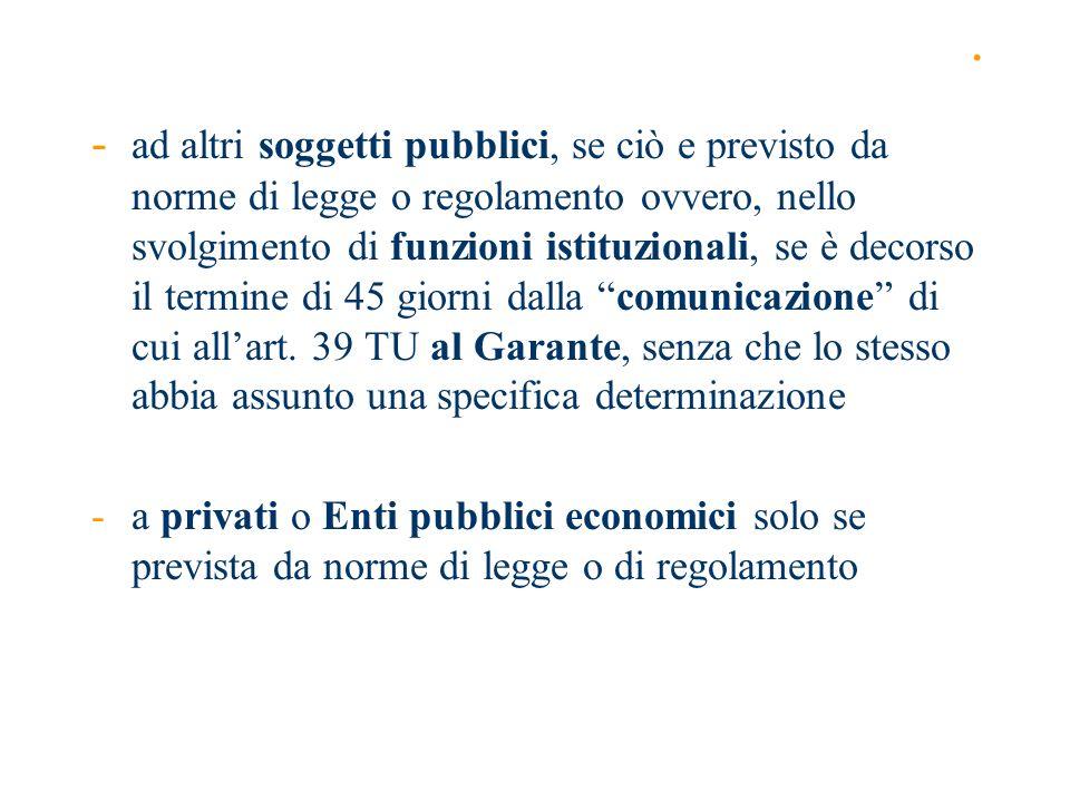 . - ad altri soggetti pubblici, se ciò e previsto da norme di legge o regolamento ovvero, nello svolgimento di funzioni istituzionali, se è decorso il
