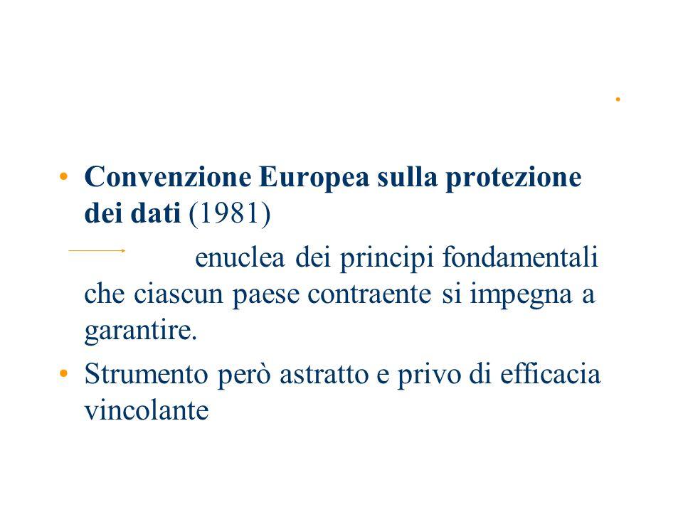 Direttiva 95/46/CEE Tutela delle persone fisiche con riguardo al trattamento dei dati personali nonché alla libera circolazione di tali dati dd.
