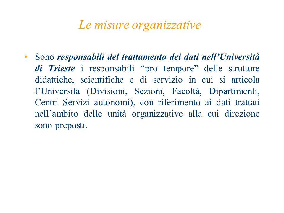 Le misure organizzative Sono responsabili del trattamento dei dati nellUniversità di Trieste i responsabili pro tempore delle strutture didattiche, sc