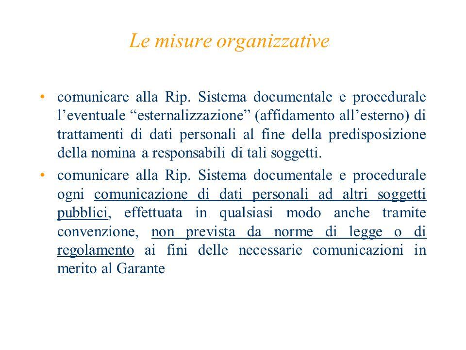 Le misure organizzative comunicare alla Rip. Sistema documentale e procedurale leventuale esternalizzazione (affidamento allesterno) di trattamenti di