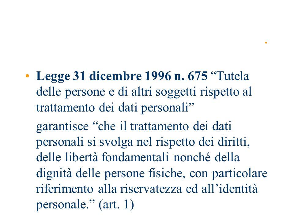 . Legge 31 dicembre 1996 n. 675 Tutela delle persone e di altri soggetti rispetto al trattamento dei dati personali garantisce che il trattamento dei