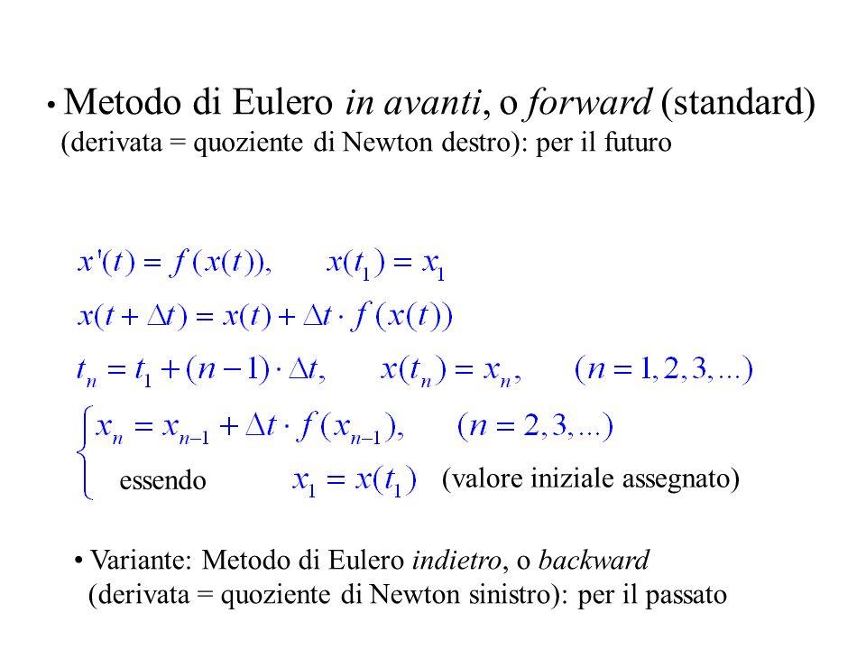 Dinamica di popolazioni, II X = X(t) popolazione al tempo t, ovviamente X(t) > 0 Tasso di crescita decrescente linearmente: X / X = a – bX, ossia X = aX – bX 2 = X (a – bX) Negli intervalli di tempo in cui X < a/b la popolazione è crescente Negli intervalli di tempo in cui X > a/b la popolazione è decrescente X = aX – 2bXX = X (a – 2bX) Negli intervalli di tempo in cui X < (a/b)/2 la popolazione è crescente, e la crescita è convessa.