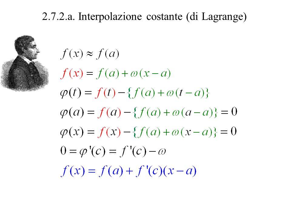 2.7.2.a. Interpolazione costante (di Lagrange) valore vero = valore approssimato + errore
