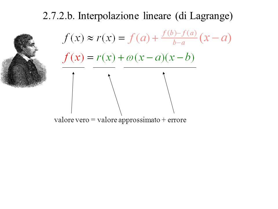 2.7.2.b. Interpolazione lineare (di Lagrange) valore vero = valore approssimato + errore