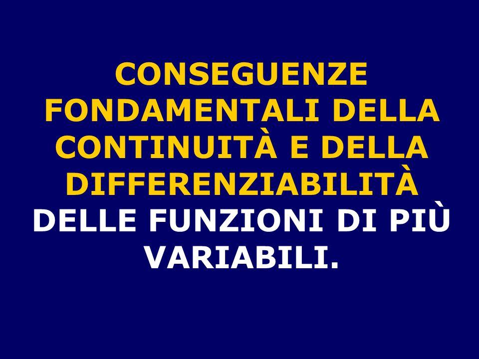 CONSEGUENZE FONDAMENTALI DELLA CONTINUITÀ E DELLA DIFFERENZIABILITÀ DELLE FUNZIONI DI PIÙ VARIABILI.