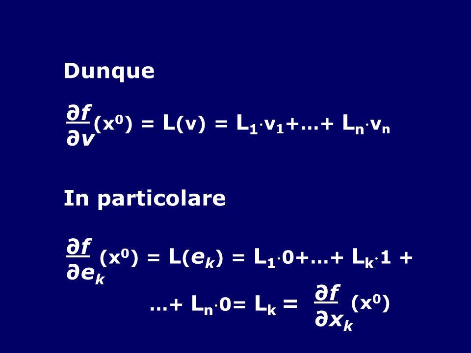 Dunque f v (x 0 ) = L (v) = L 1 v 1 +…+ L n v n In particolare f e k (x 0 ) = L ( e k ) = L 1 0+…+ L k 1 + …+ L n 0= L k = f x k (x 0 )