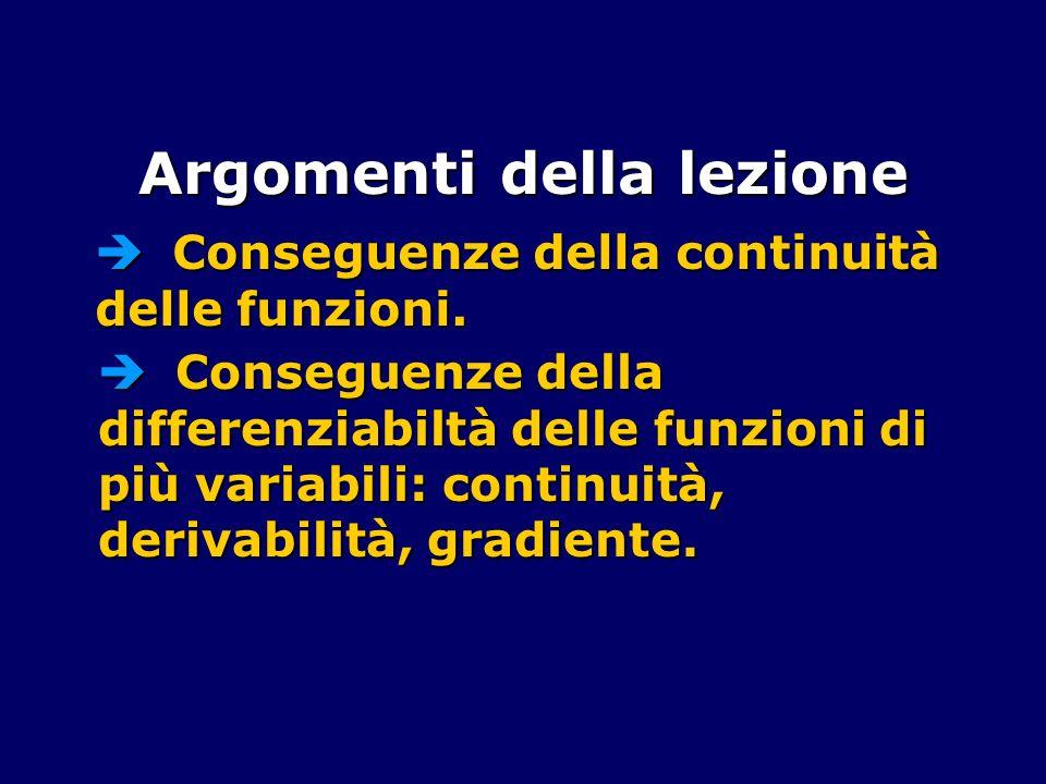 Argomenti della lezione Conseguenze della continuità delle funzioni. Conseguenze della continuità delle funzioni. Conseguenze della differenziabiltà d