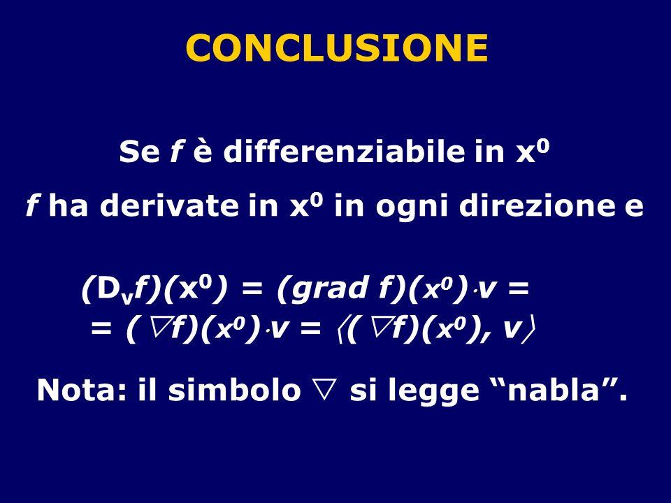 CONCLUSIONE Se f è differenziabile in x 0 f ha derivate in x 0 in ogni direzione e (D v f)(x 0 ) = (grad f)( x 0 ) v = = ( f)( x 0 ) v = ( f)( x 0 ), v Nota: il simbolo si legge nabla.