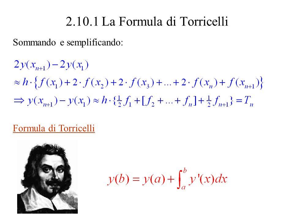 2.10.2 Calcolo esatto di integrali (Prima conseguenza della Formula di Torricelli; y (x) = f(x) ) Se si indovina una funzione y(x) tale che y (x) = f(x) (una antiderivata – o primitiva – della funzione f(x) ) si ha Si usa per brevità la notazione