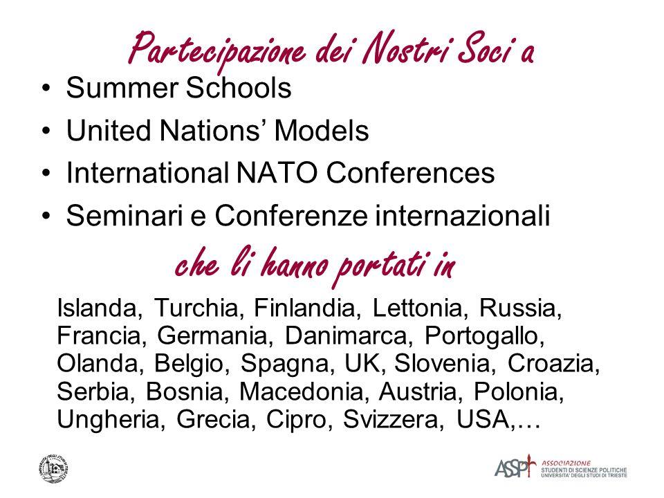 Partecipazione dei Nostri Soci a Summer Schools United Nations Models International NATO Conferences Seminari e Conferenze internazionali che li hanno