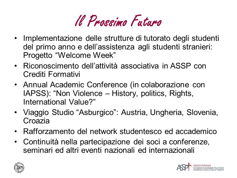 Il Prossimo Futuro Implementazione delle strutture di tutorato degli studenti del primo anno e dellassistenza agli studenti stranieri: Progetto Welcom