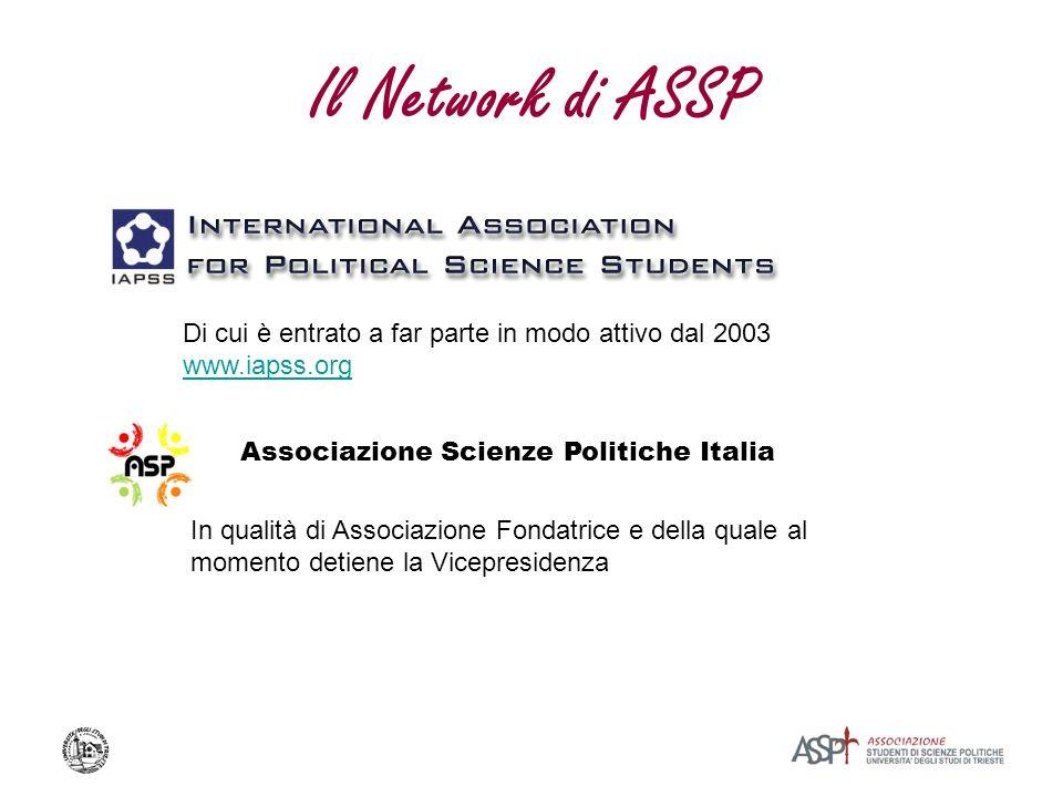 Il Network di ASSP Associazione Scienze Politiche Italia Di cui è entrato a far parte in modo attivo dal 2003 www.iapss.org In qualità di Associazione