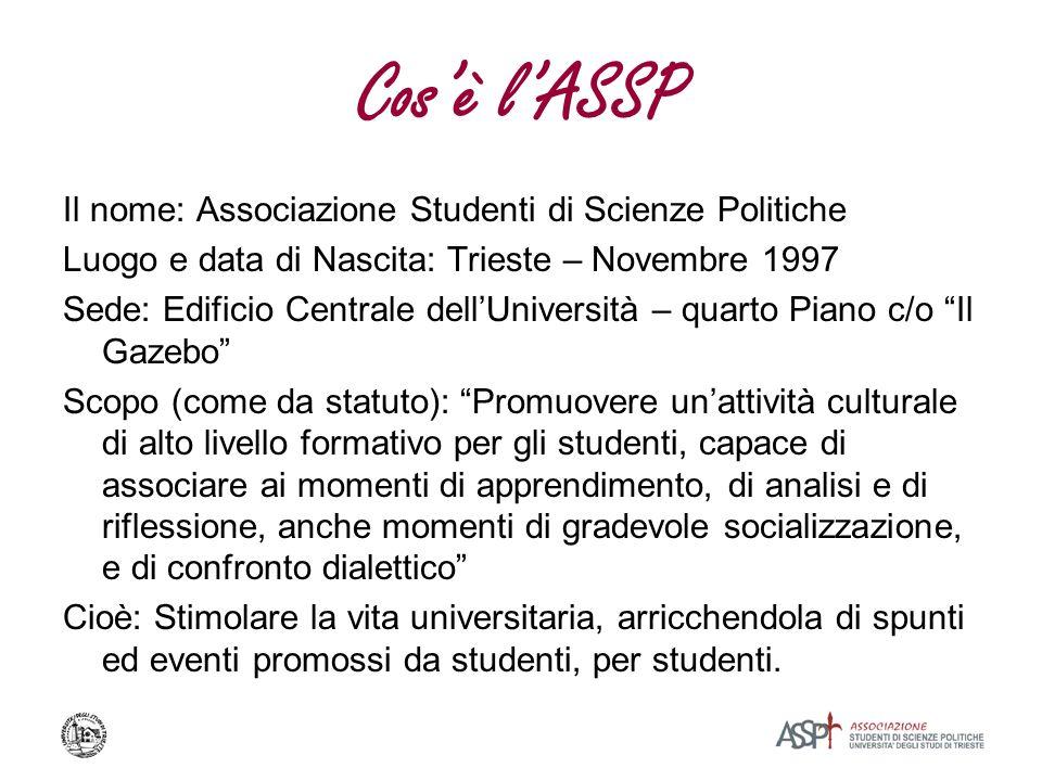 Cosè lASSP Il nome: Associazione Studenti di Scienze Politiche Luogo e data di Nascita: Trieste – Novembre 1997 Sede: Edificio Centrale dellUniversità