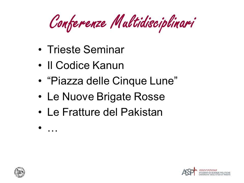 Conferenze Multidisciplinari Trieste Seminar Il Codice Kanun Piazza delle Cinque Lune Le Nuove Brigate Rosse Le Fratture del Pakistan …